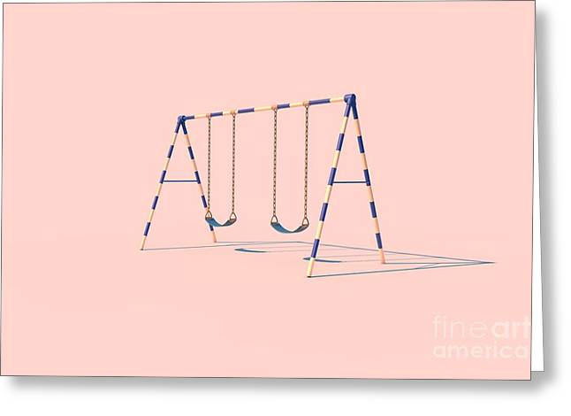 A Swingset In Sunlight On A Pink Greeting Card