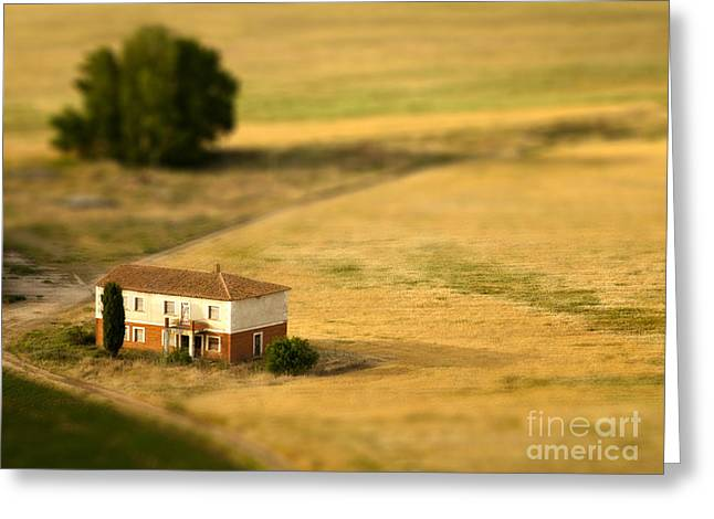 A Tilt Shifted Country House On A Greeting Card
