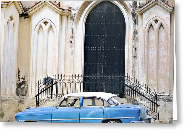 A View Of Classic American Old Car Greeting Card by Roxana Gonzalez