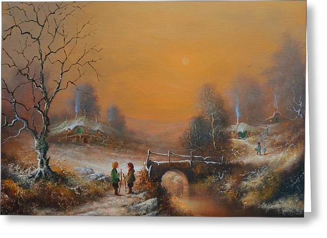 A Winters Tale Snow Arrives In The Shire Greeting Card