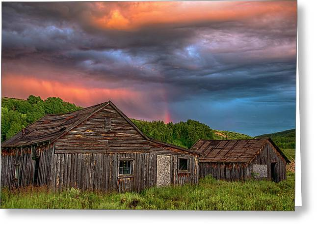 Abandoned Cabin And Rainbow 2 Greeting Card