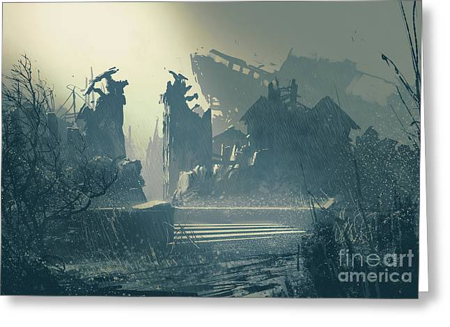 Abandoned City In Heavy Rain,landscape Greeting Card