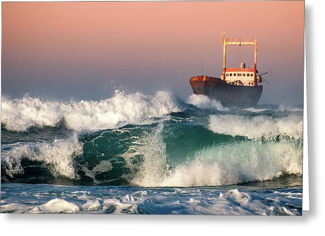 Greeting Card featuring the photograph Abandoned Ship And The Stormy Waves by Michalakis Ppalis