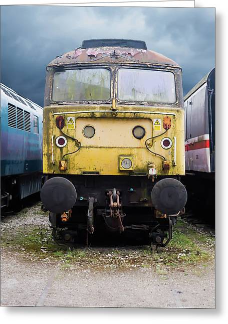 Abandoned Yellow Train Greeting Card