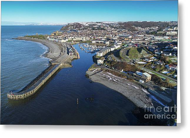 Aberystwyth Harbour From The Air In Winter Greeting Card