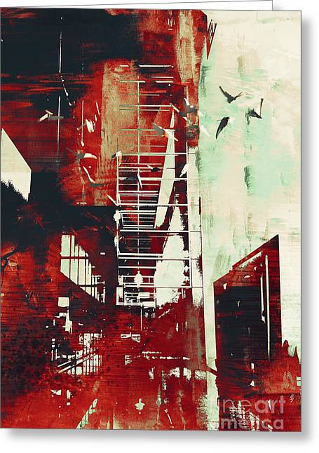 Abstract Architecture With Red Grunge Greeting Card