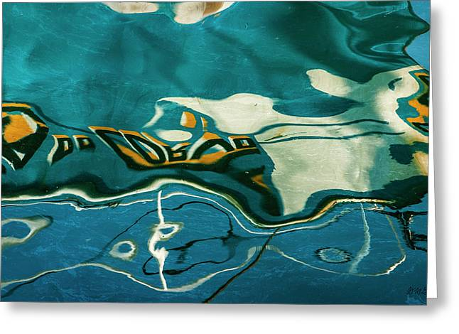 Greeting Card featuring the photograph Abstract Boat Reflection V Color by David Gordon