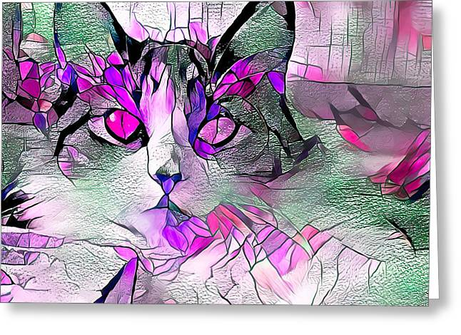 Abstract Calico Cat Purple Glass Greeting Card