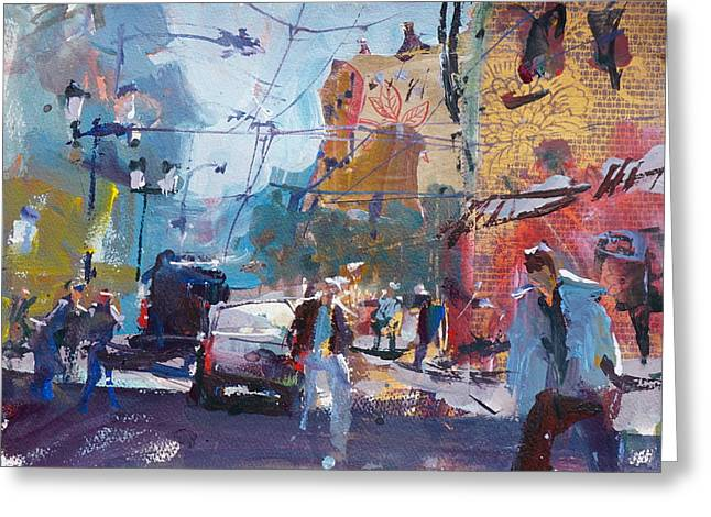 Abstract Cityscape Painting Greeting Card