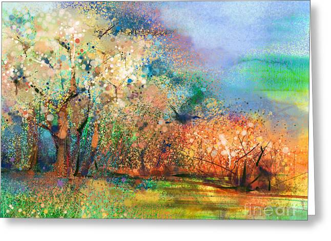 Abstract Colorful Landscape Painting Greeting Card