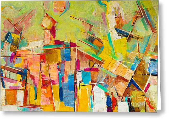 Abstract Colorful Oil Painting On Canvas Greeting Card