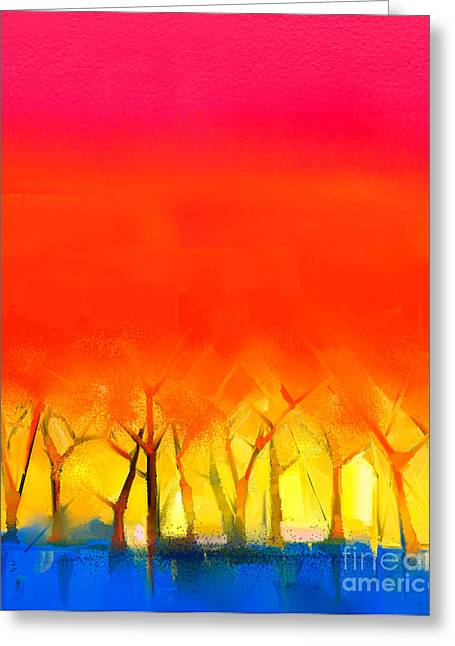 Abstract Colorful Oil Painting Greeting Card