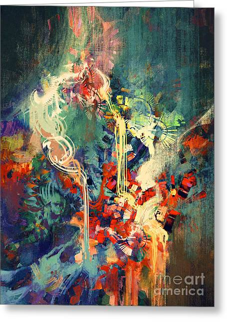 Abstract Colorful Painting,melted Greeting Card