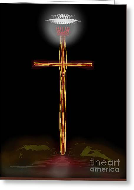 Abstract Cross With Halo Greeting Card