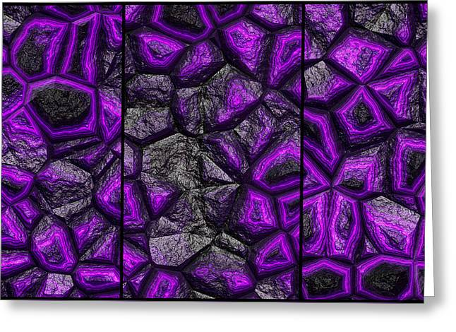 Abstract Deep Purple Stone Triptych Greeting Card