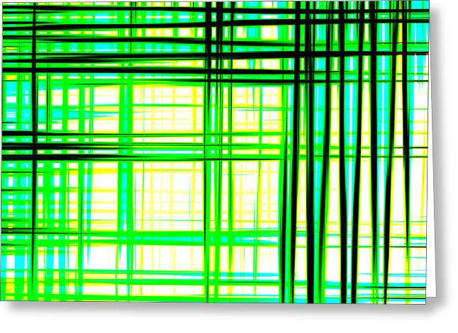 Abstract Design With Lines Squares In Green Color Waves - Pl409 Greeting Card