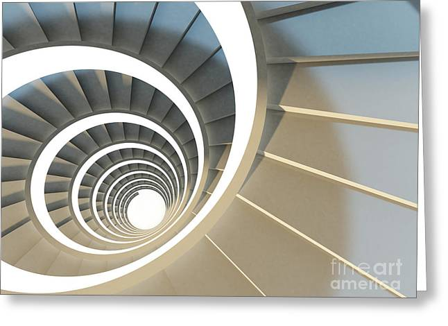 Abstract Endless Spiral Staircase With Greeting Card