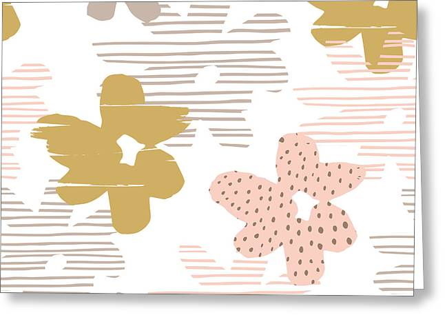 Abstract Floral Seamless Pattern With Greeting Card