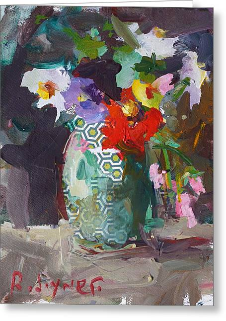 Abstract Flower Still Life Painting Greeting Card