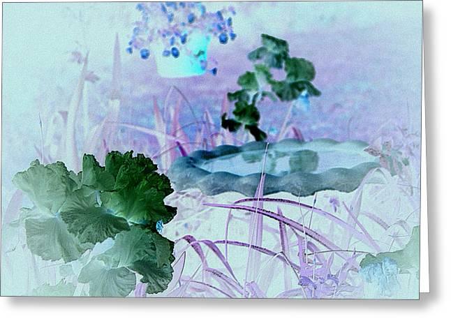 Greeting Card featuring the digital art Abstract Garden Birdbath by Robert G Kernodle
