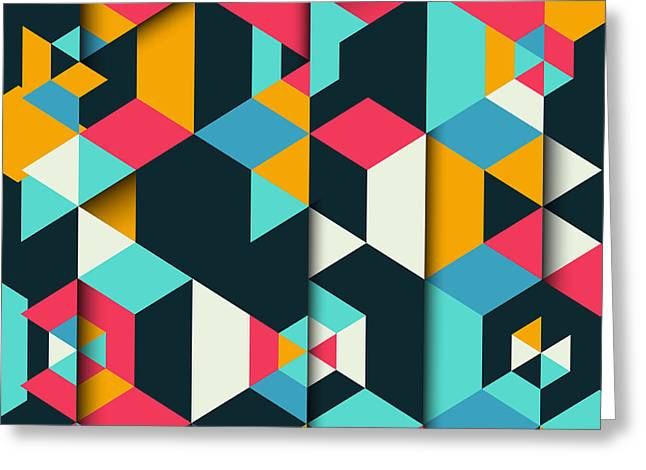 Abstract Geometric Background With A 3d Greeting Card