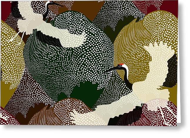 Abstract Illustration Of Two Japanese Greeting Card