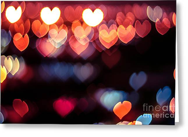 Abstract Love Or Heart Shape Bokeh Greeting Card