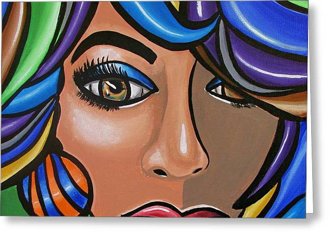 Abstract Woman Artwork Abstract Female Painting Colorful Hair Salon Art - Ai P. Nilson Greeting Card