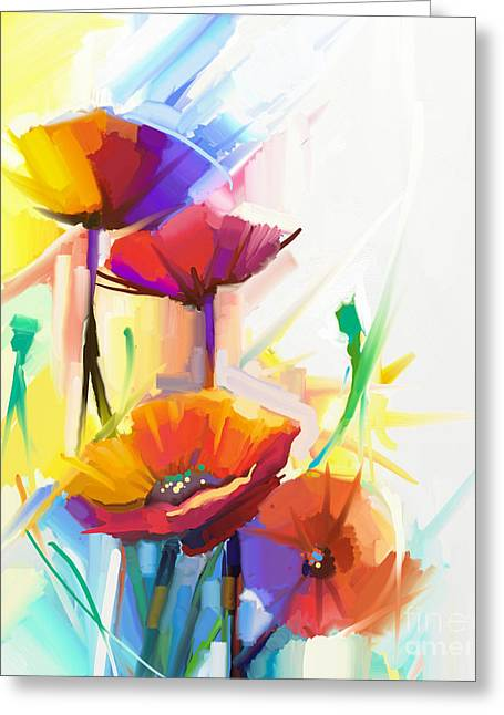 Abstract Oil Painting Of Spring Flower Greeting Card
