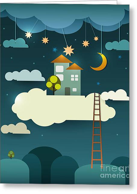 Abstract Paper Cut-fantasy Home Sweet Greeting Card