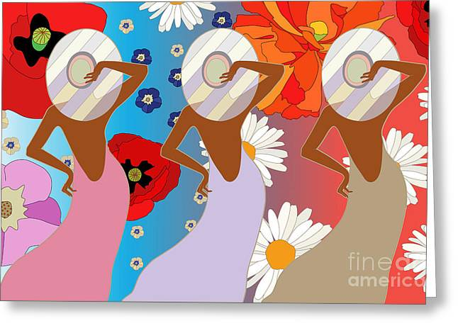 Abstract Pattern Of Women In Dresses Greeting Card