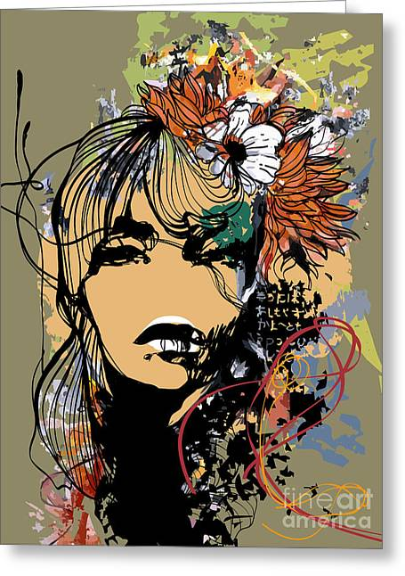 Abstract Print With Female Face Greeting Card by Alisa Franz