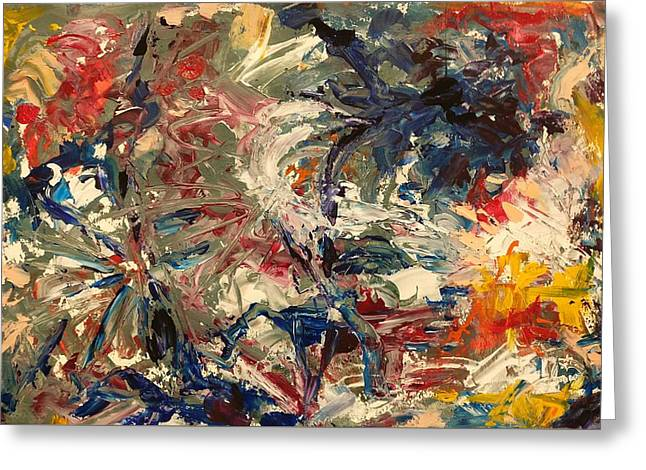 Greeting Card featuring the painting Abstract Puzzle by Nicolas Bouteneff