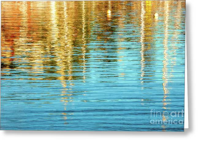 Abstract Reflections In Camden Harbor Maine Greeting Card