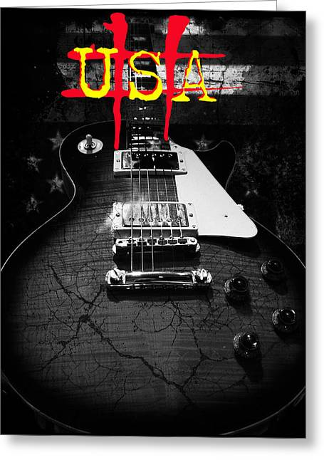 Abstract Relic Guitar Usa Flag Greeting Card