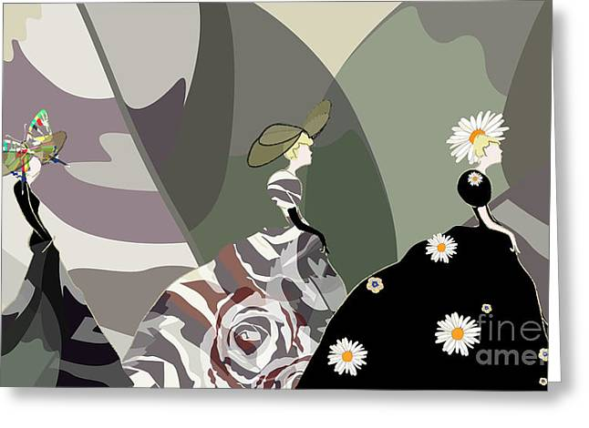 Abstract Sketch Girl Model, Dress Greeting Card by Viktoriya Pa