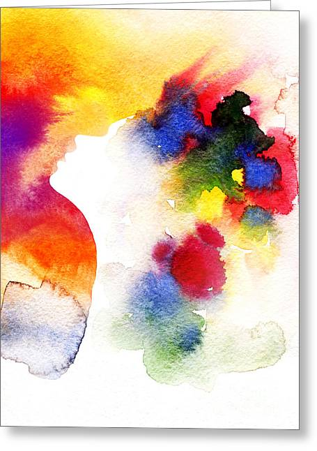 Abstract  Watercolor .woman Face Greeting Card