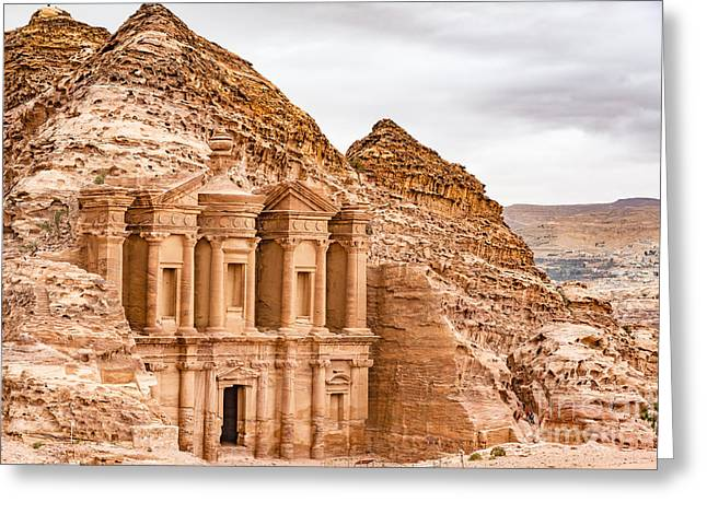 Ad Deir In The Ancient City Of Petra Greeting Card