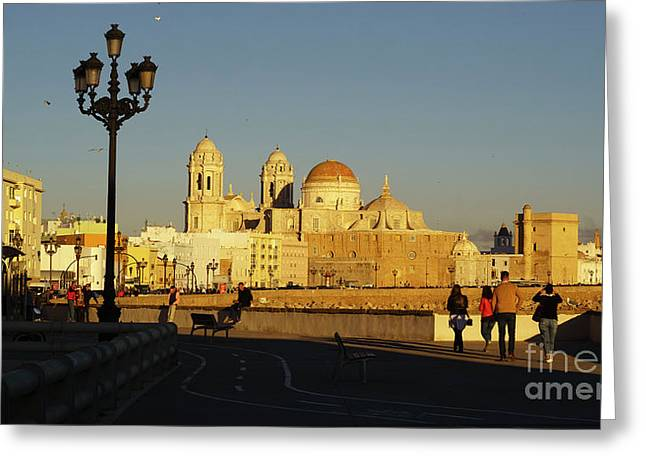 Greeting Card featuring the photograph adiz Cathedral from Southern Field Spain by Pablo Avanzini