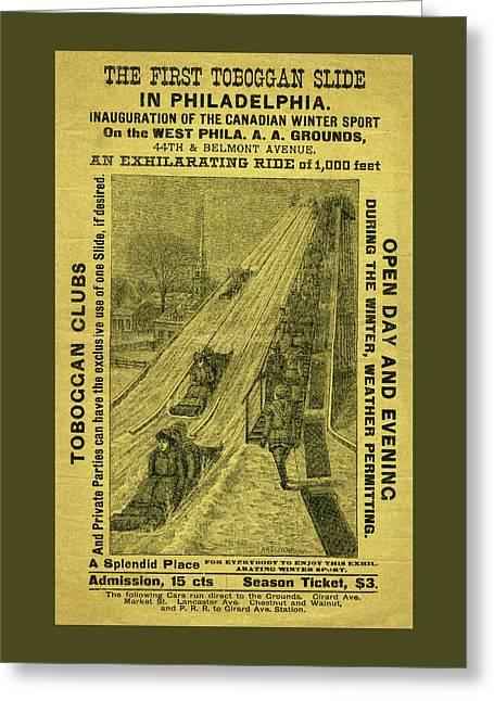 Advertisement For The First Toboggan Slide In Philadelphia Greeting Card