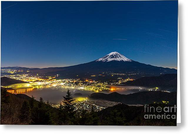 Aerial Mount Fuji With Kawaguchiko Lake Greeting Card