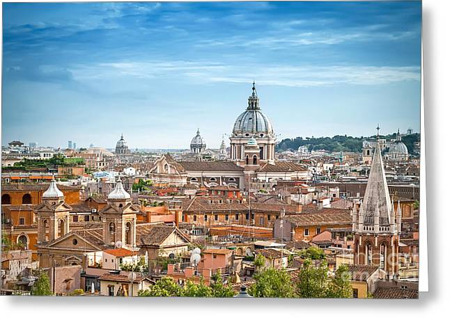 Aerial Panoramic Cityscape Of Rome Greeting Card