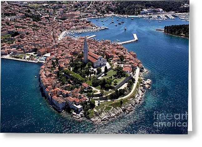 Aerial Shoot Of Old Town Rovinj, Istra Greeting Card