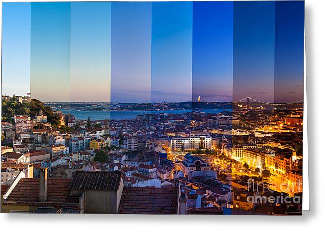 Aerial View Montage Of Lisbon Rooftop Greeting Card
