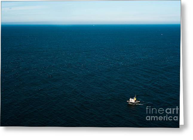 Aerial View Of A Lonely Boat In The Greeting Card