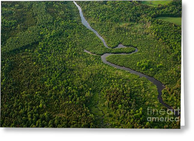 Aerial View Of A Winding River Greeting Card