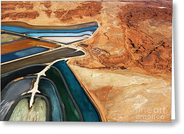 Aerial View Of An Arid, Craggy Greeting Card