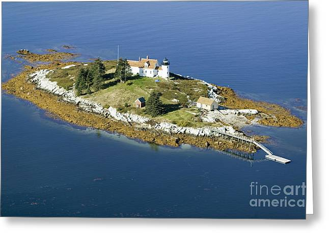 Aerial View Of An Island And Lighthouse Greeting Card