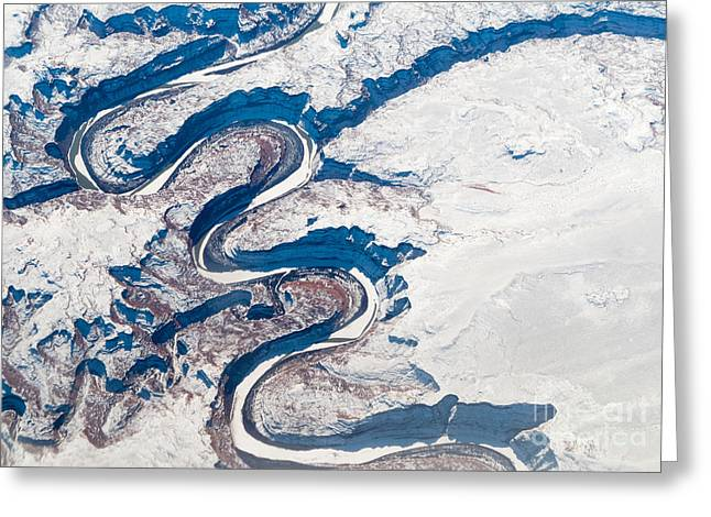 Aerial View Of Canyon, Albertas Greeting Card