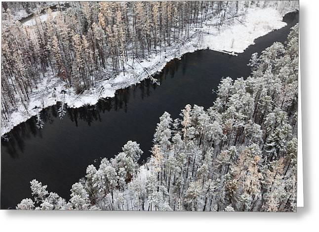 Aerial View Of Forest River In Cold Greeting Card by Vladimir Melnikov